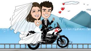 Caricatura divertente di sposi su moto