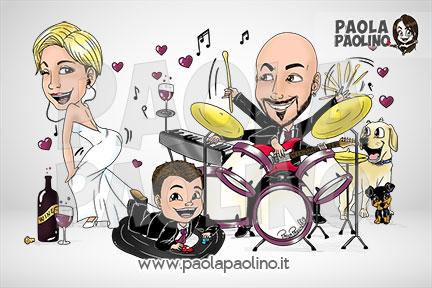 Caricatura personalizzata sposi con batteria