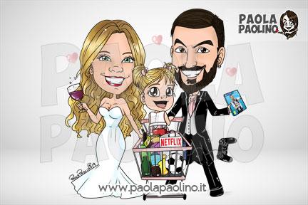 Caricatura sposo e sposa con bambina