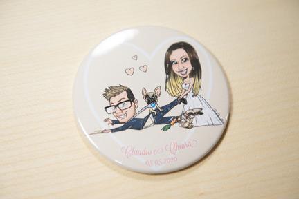 Magnete con caricatura con sposo e sposa