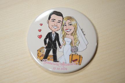 Magnete con caricatura di sposi in viaggio