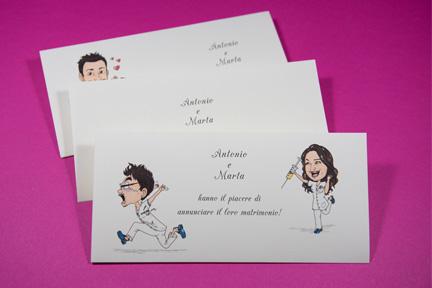 3 modelli partecipazioni con caricature personalizzate