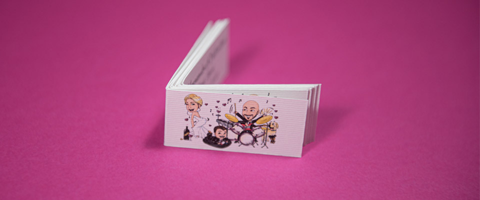 Bigliettini confetti partecipazioni con caricatura