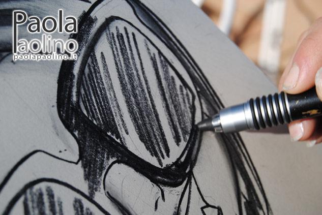 Caricatura bianco e nero in costiera amalfitana