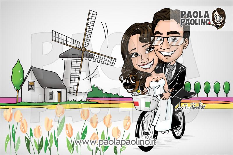 Caricatura con sposi in biciletta