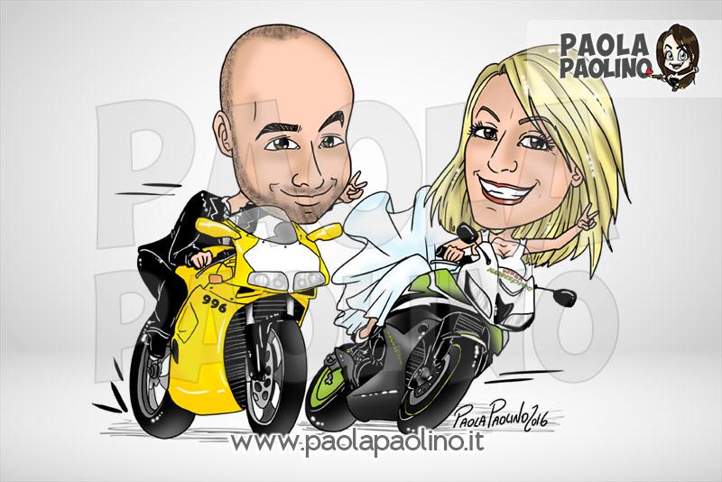 Caricatura di sposi su moto