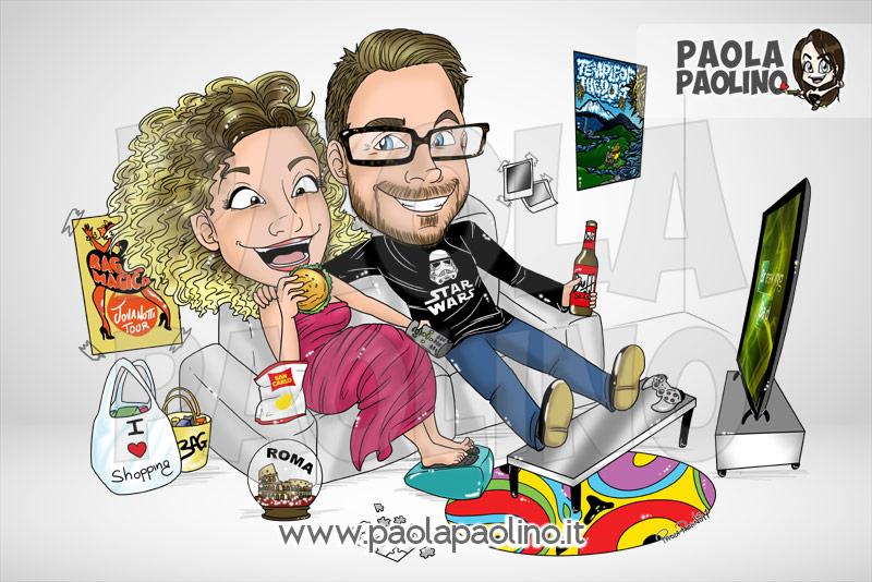 Caricatura fidanzati su divano