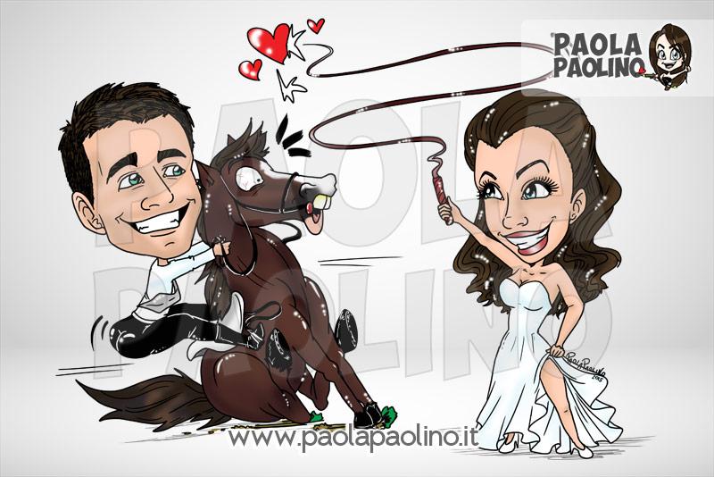 Caricatura sposi con cavallo