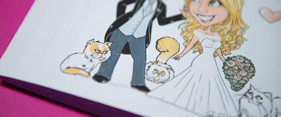 Caricatura sposi con gatti partecipazione violet