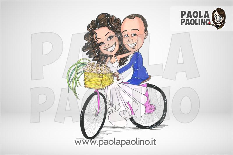 Caricatura sposi in bicicletta