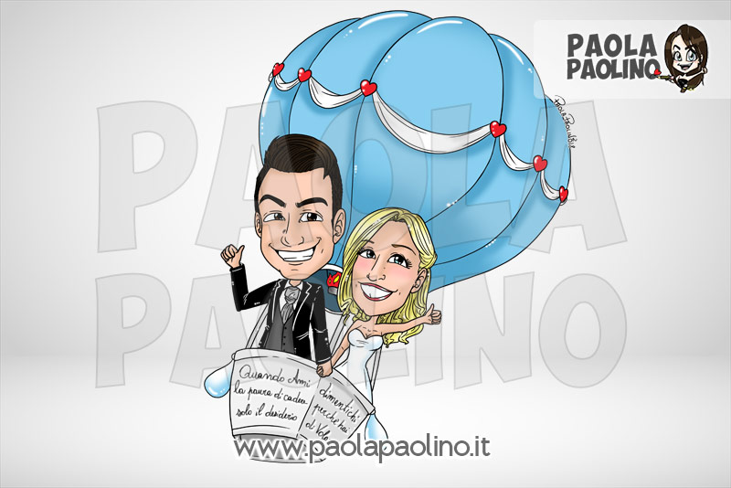 Caricatura sposi in mongolfiera