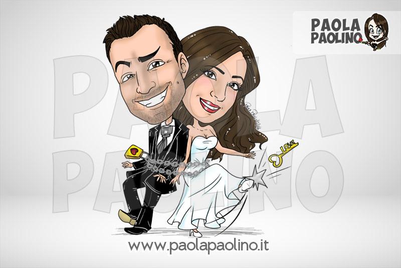 Caricatura sposi legati da catena