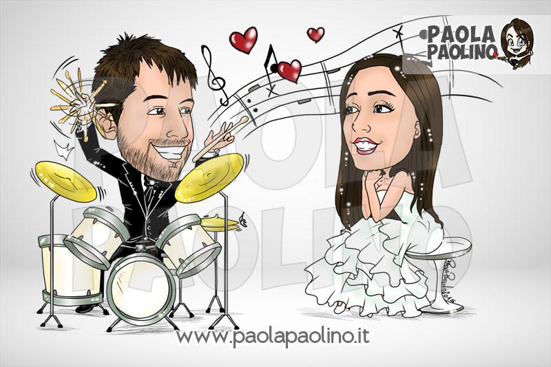 Caricatura sposo batterista e sposa innamorata