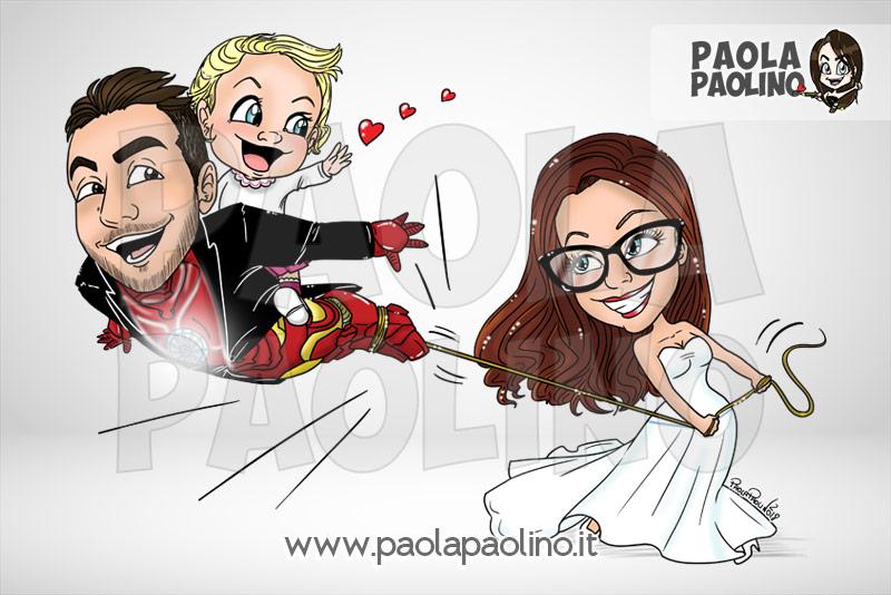 Caricatura sposo supereroe