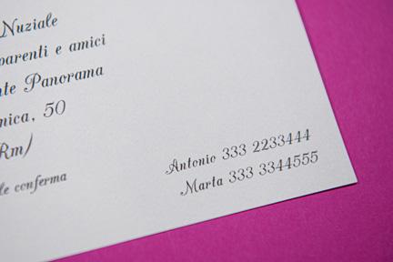 Partecipazione avory con informazioni sposi