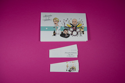 Partecipazione con caricatura - Cindarella con bigliettini confetti