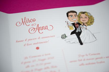 Partecipazione con caricatura sposi con birra