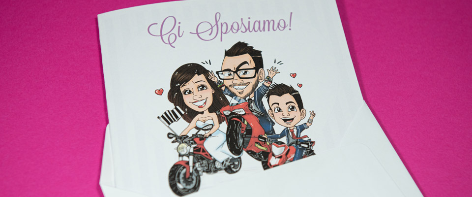 Partecipazione con caricatura sposi su moto