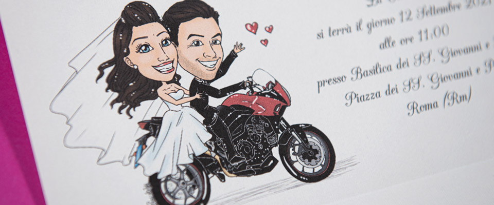 Partecipazione con caricatura su moto - Avorio