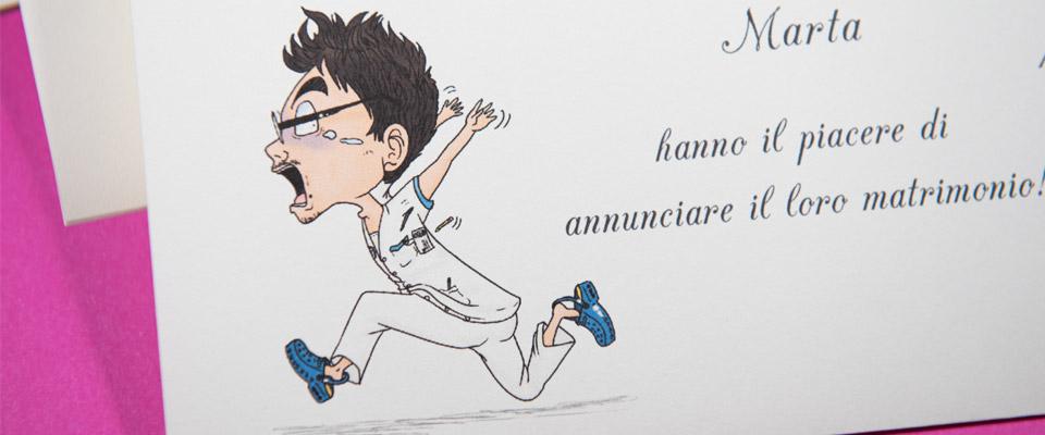 Partecipazione con caricatura di uomo che scappa
