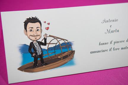 Partecipazione con caricatura uomo su barca