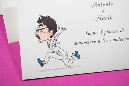 Partecipazione divertente caricatura uomo che scappa