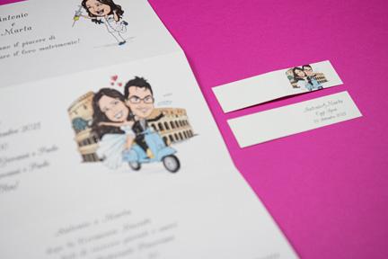 Partecipazione matrimonio bigliettini confetti colosseo