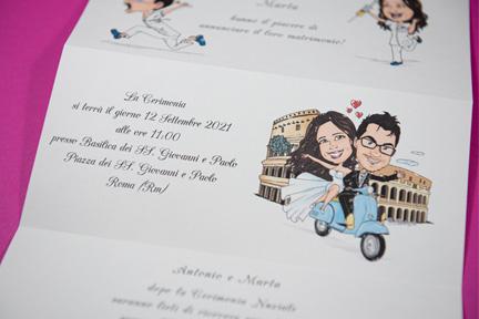 Partecipazione matrimonio sposi a roma con colosseo