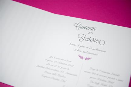 Partecipazione violet - Annuncio matrimonio