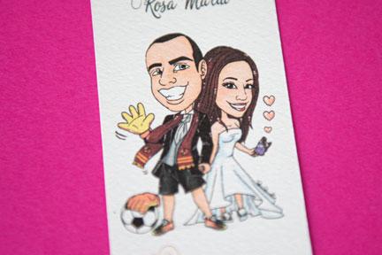 Segnaposto segnalibro con caricatura coppia di sposi