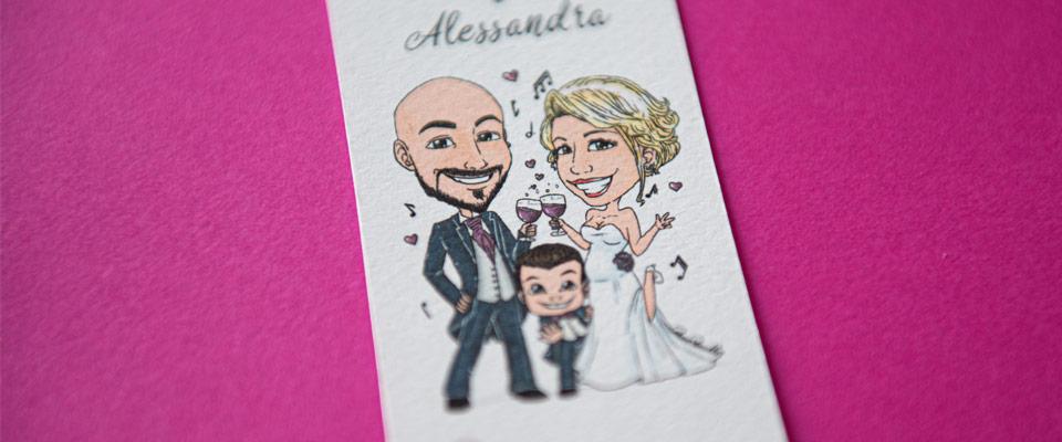 Segnaposto segnalibro con caricatura sposi