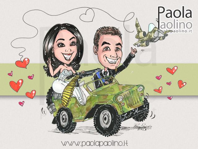 Sposi su fuoristrada militare