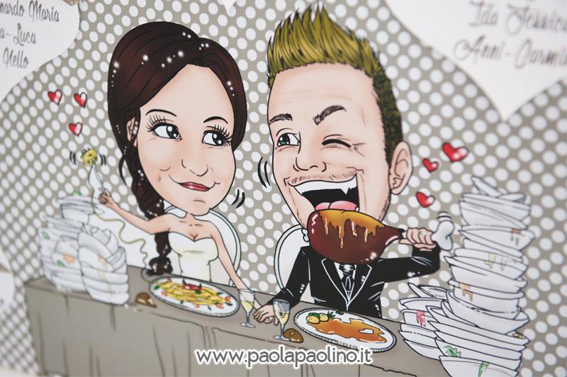 Tableau mariage con caricatura