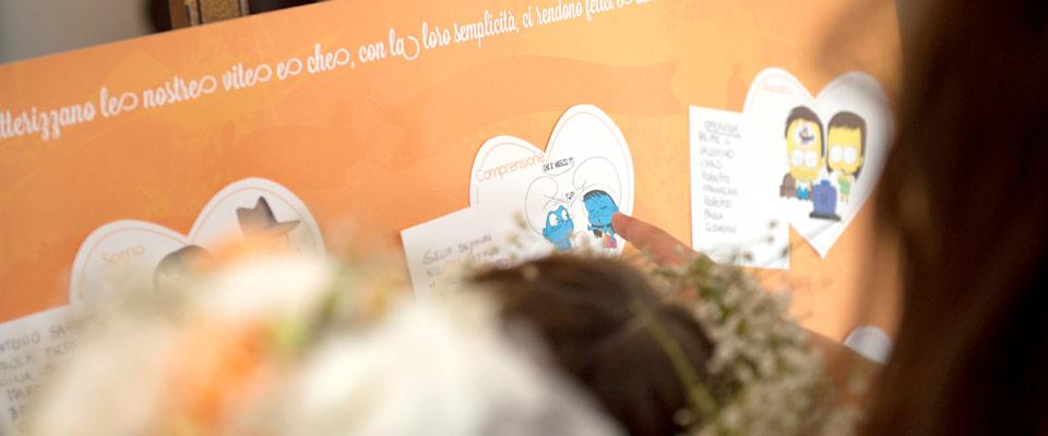 Tableau mariage personalizzato per ospiti al ricevimento