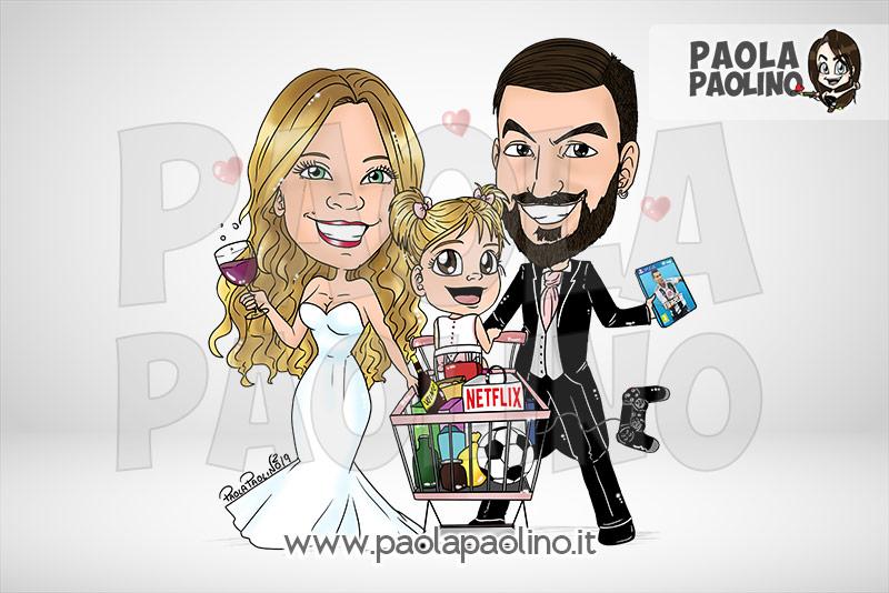 Caricatura di famiglia con carrello della spesa