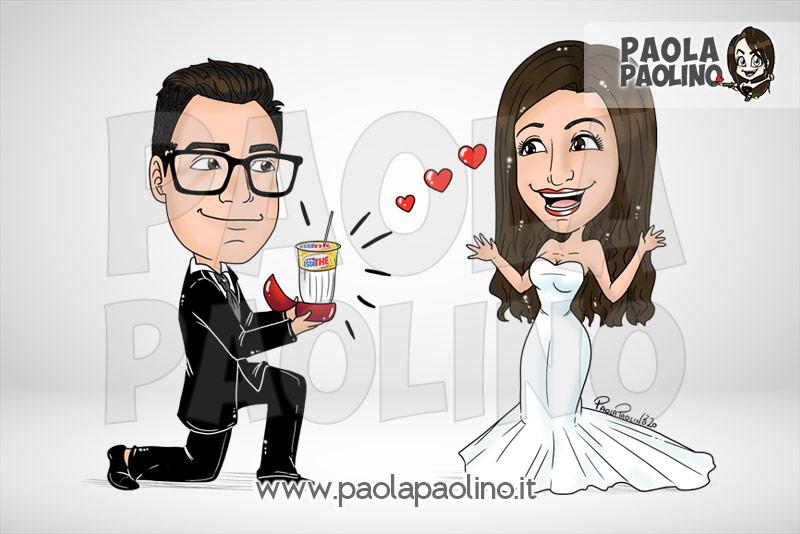 Caricatura con dichiarazione di matrimonio