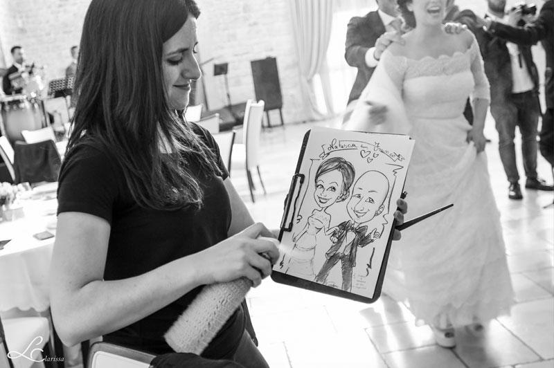 Caricatura realizzata al matrimonio durante ricevimento sposi