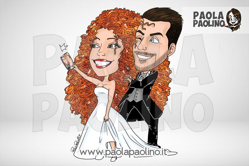 Caricatura con selfie degli sposi