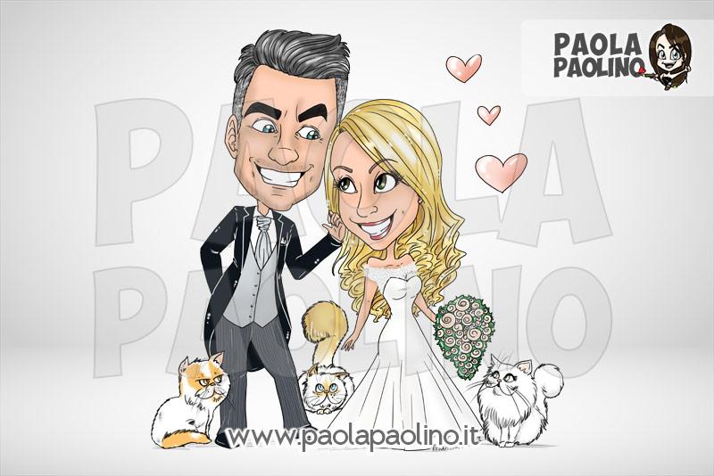 Caricatura sposi con gatti