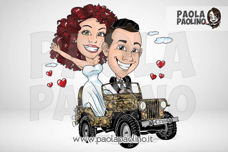 Caricatura sposi su auto militare