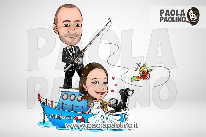 Caricatura sposi su barca