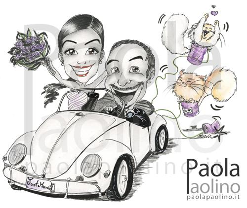 Caricatura sposi su maggiolone
