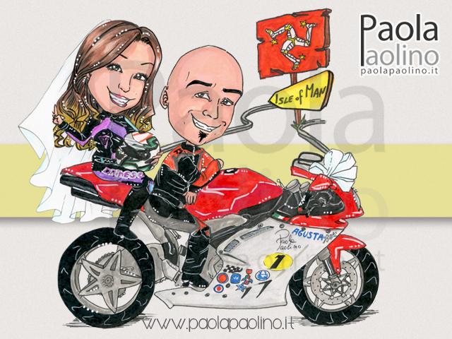 Segnaposto Matrimonio Moto.Caricaturista Matrimoni Ed Eventi Caricatura Sposi Su Moto In