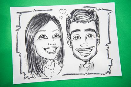 Caricatura di coppia in carboncino