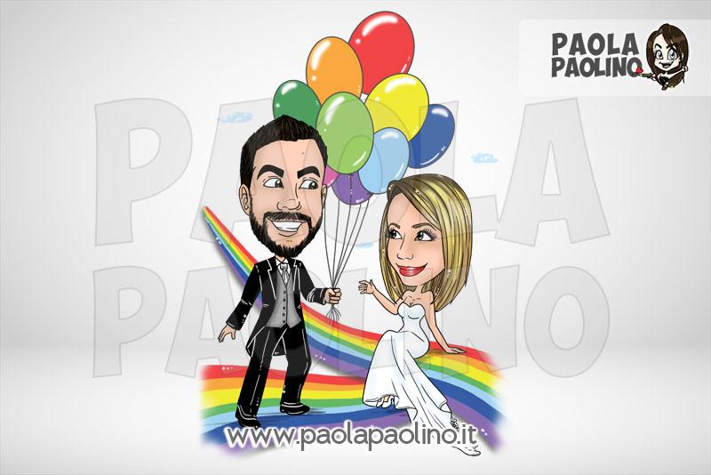 Caricatura sposi con palloncini e arcobaleno