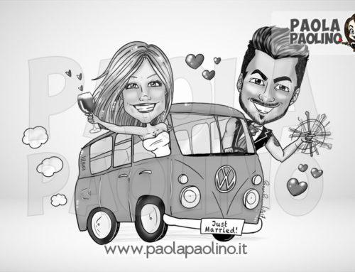 Caricatura degli sposi su pullman walkswagen