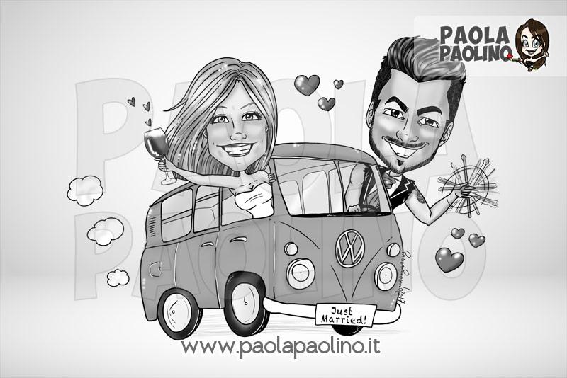 La caricatura degli sposi sul pullman Wolkswagen, il mitico pullman usato nel matrimonio