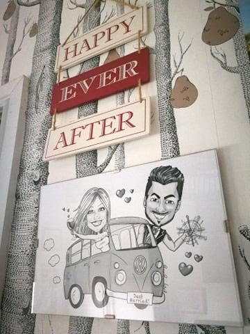 Caricatura sposi su walkswagen