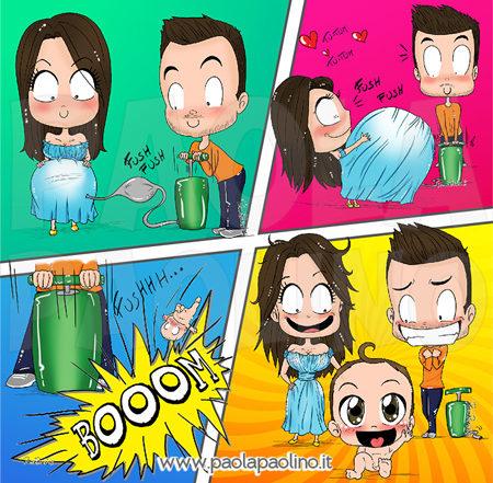 Idea annuncio nascita con fumetto cartoon
