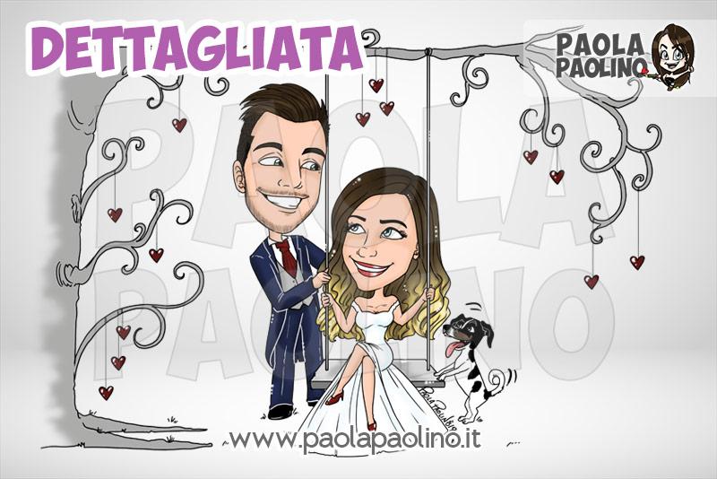 Nuova caricatura degli sposi su altalena